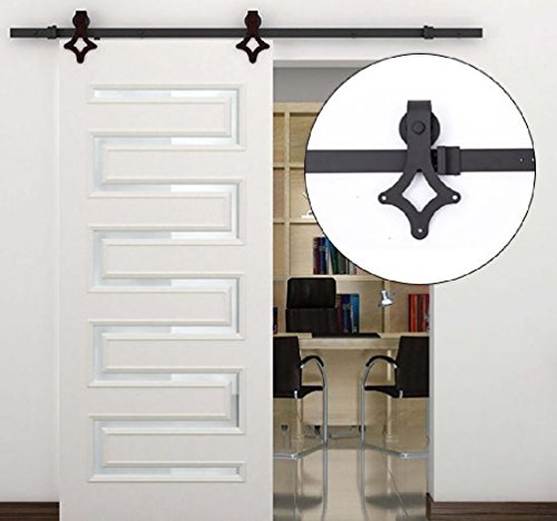New 6FT Modern Carbon Steel Wood Barn Sliding Door Track Hardware ()