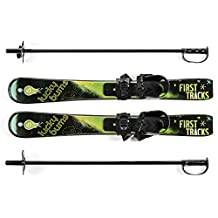 Lucky Bums Kid's Beginner Snow Skis and Poles (Green/Black, 70-cm)