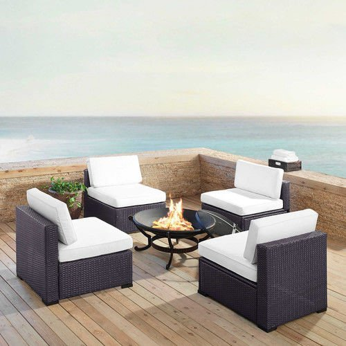 Crosley KO70122BR-WH Biscayne 4 Person Wicker Set with White Cushions.