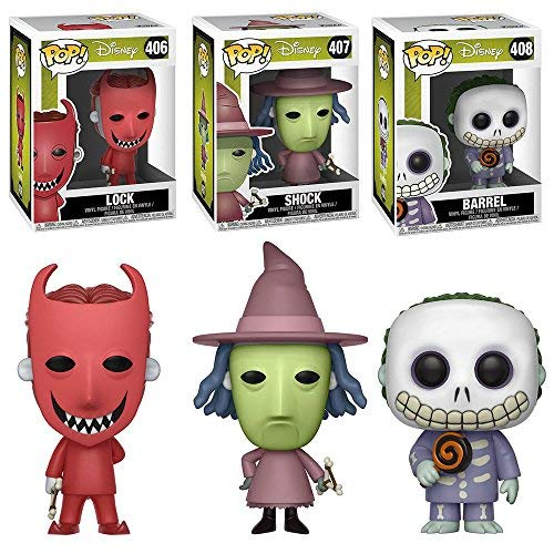 Funko POP Disney Tim Burton's The Nightmare Before Christmas Movie: Lock Shock and Barrel Toy Action Figures - 3 POP BUNDLE -
