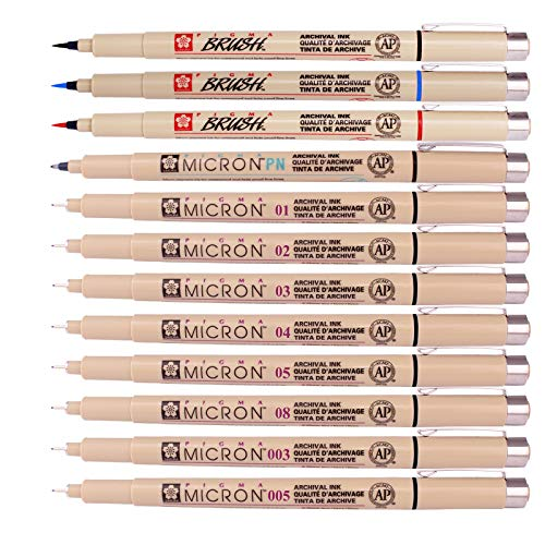 (Sakura Pigma Micron Fine Line Pen High Light and Soft Head Pen Manga Drawing- Assorted 12 Pens Set)