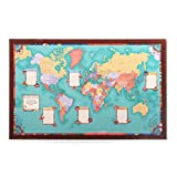 Personalized World Bucket List Map (Dark Wood Frame)