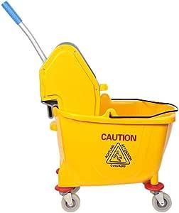 Eclat Mop Bucket with Wheel and Wringer - 32 Liters, Yellow
