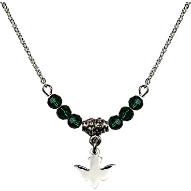 Amazon 18 Inch Rhodium Plated Necklace With 4mm Green May Birth