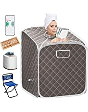 Giantex Portable Steam Sauna Spa 2L Folding Private Sauna Tent W/Chair Foot, Massage Roller, Absorbent Pad,9 Adjustable Temperature Levels for Weight Loss, Detox, Stress Fatigue 33 x 33x 42(Gray)