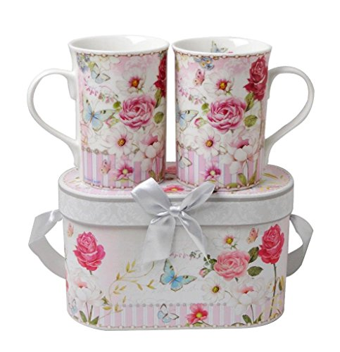 Lightahead Elegent Bone China 2 Mugs set in a reusable handmade gift box with ribbon + bead, in pretty pink garden design