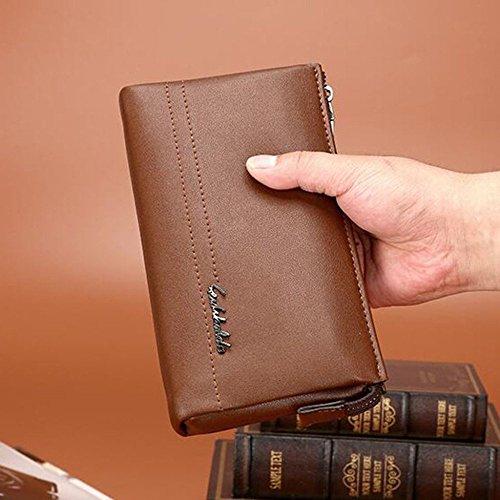 Embrague PU Hombre Billetera de Hombres LEIU Mano de Bolso Mano Bolsa para Bolsa de Bolso de Billetera Brown de Mano Bolso zdqH4wdU