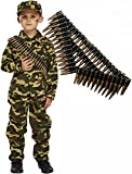 Army Boy Soldier Kids Fancy Dress Costume Outfit with Bullet Belt (4-6 years)