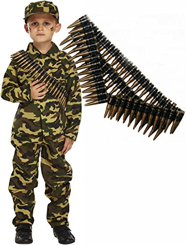 Soldier Outfit (Army Boy Soldier Kids Fancy Dress Costume Outfit With Bullet Belt (4-6 Years))