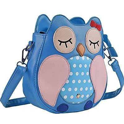 Kids Owl Faux Leather Shoulder Bag for Little Girls Toddlers Crossbody Handbag Purses - Blue: Toys & Games