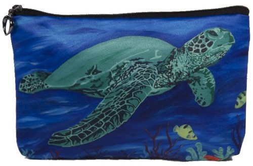 Cosmetic Bag, Zipper Pouch - Zip-top Closer - Taken From My Original Paintings - Animals (Sea Turtle - Wisdom)