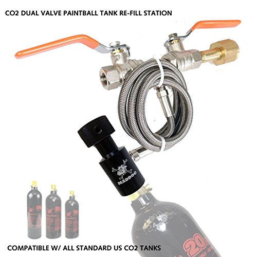 MAddog Paintball Co2 Fill Station - Dual Valve Bottle Refill Station for 9oz, 12oz, 16oz, 20oz + 24oz Co2 Tanks - -