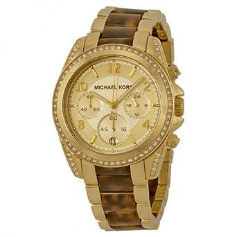 a252cdb15809 Michael Kors マイケルコース 時計 レディース ゴールドカラーべっこう柄 ブレスレットラインストーンブレス