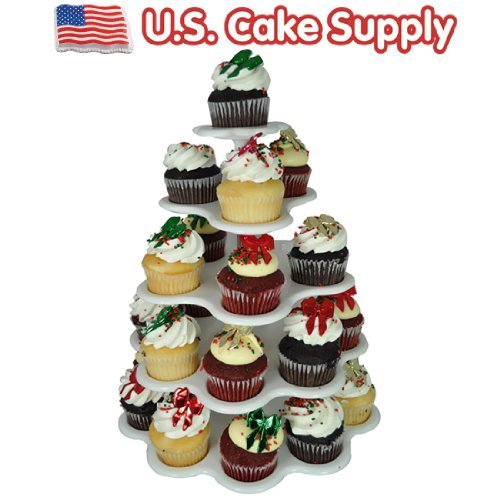 U.S. Cake Supply® Brand 27 Count Plastic Cupcake Dessert Stand with 5 Tiers - - Great for Holiday Parties - Halloween - Thanksgiving - Christmas - 4th of July - -