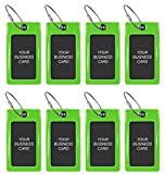 Luggage Tags TUFFTAAG for Business Cards, Flexible Travel Labels, 8 Pack Bundle (8 Green)