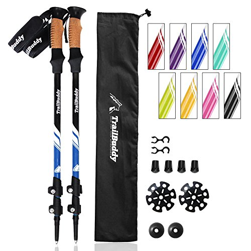 TrailBuddy Hiking Poles - 2-pc Pack Adjustable Walking or Trekking Sticks - Strong, Lightweight Aluminum 7075 - Quick Adjust Flip-Lock - Cork Grip, Padded Strap - Free Bag, Accessories (Lake Blue)