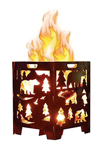Bear Wood Burning Pit, Fire Pit, Burn Cage, Incinerator Barrel, Great for Patio and Outdoor Backyard Bonfire Heavy Duty Large 21 x 21 x 27 inch (Camp Pit)