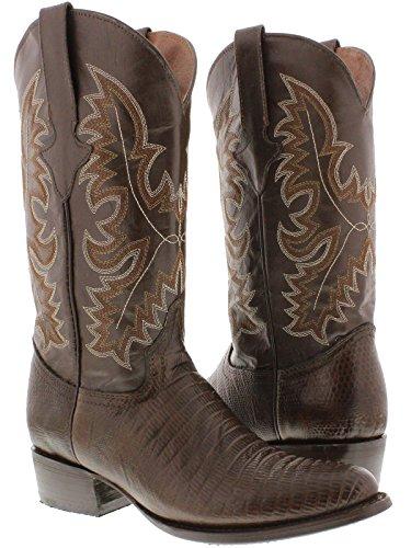 - Team West - Men's Brown Teju Lizard Print Leather Cowboy Boots Round Toe 11.5 D(M) US