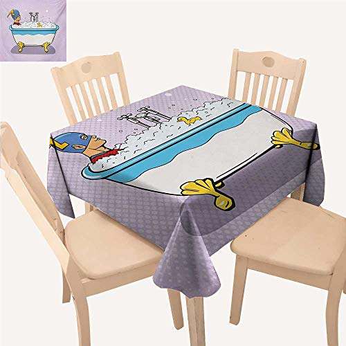 WinfreyDecor Comics Picnic Cloth Superhero Fast Furious Relaxing in Bubble Bath Shower with Rubber Duck Art Print BBQ Tablecloth Multicolor W 36