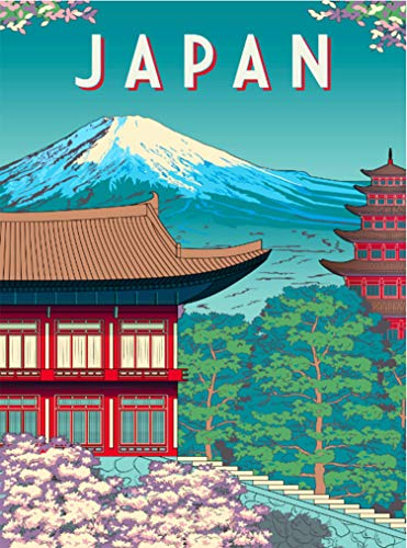 A SLICE IN TIME Mt. Fuji Japan Japanese Asia Asian Retro Travel Home Collectible Wall Decor Advertisement Art Deco Poster Print. 10 x 13.5 inches
