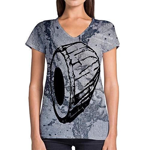 Idakoos Instruments Mridangam 3D - Women V-Neck T-Shirt Polyester -
