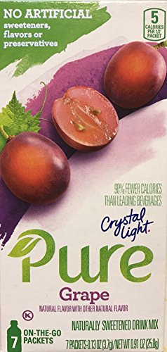 Crystal Light Pure Grape Drink Mix, 7 On-the-Go Packets (Pack of 4)