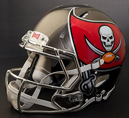 Riddell Speed Tampa Bay Buccaneers NFL Replica Football Helmet with CU-S2BD-SW Football Helmet Facemask/Faceguard (Odell Beckham Jr. Style) (Tampa Replica Football Buccaneers Helmet Bay)