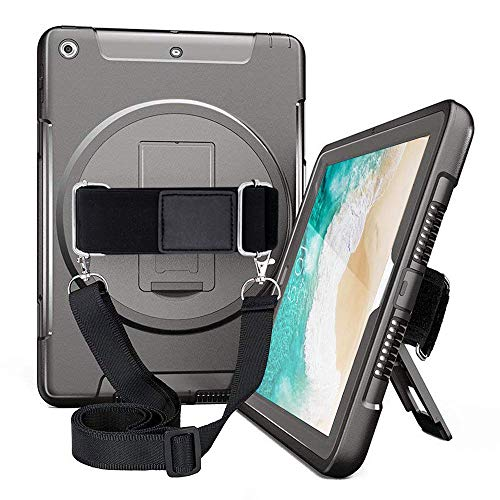 iPad Air Case with Screen Protector for Kids A1474 A1475 A1476 Full Body Rugged Protective Shockproof Case with 360 Degree Rotating Stand,Hand Strap&Shoulder Strap for Students iPad Air 1st Gen Blk