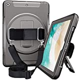 iPad 9.7 2018 2017 Case, iPad 5th 6th Generation Cover, Car Headrest Mount Holder, with Built-in Screen Protector, Rotating Stand, Hand Strap& Shoulder Strap Kids Tablet A1893/A1954/A1822/A1823 Black