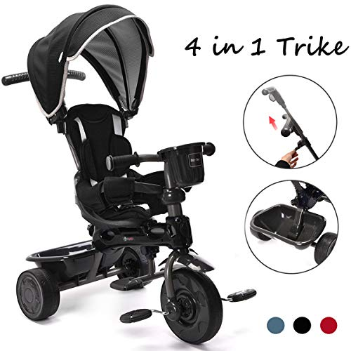 ChromeWheels 4-in-1 Kids' Trike & Stroller, Adjustable Height Push Ride Tricycle for 9 Months - 5 Year Old, Black