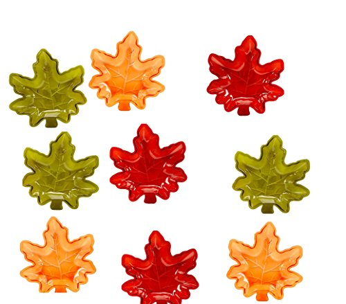(Fall Autumn Maple Leaf Stackable Salsa Bowls, Snack, Dip, Crackers, Olives, Nuts or Candy (9, Fall Harvest Multi))