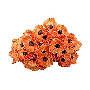 12 Stems Artificial Poppies Real Touch PU Fake Latex Flowers for Wedding Holiday Bridal Bouquet Home Party Decor (Orange) 20