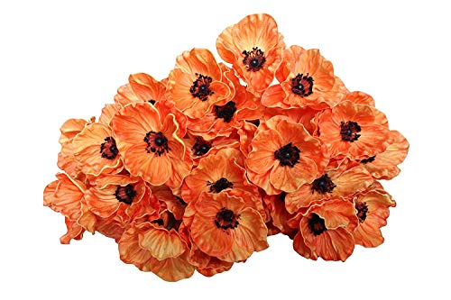 12 Stems Artificial Poppies Real Touch PU Fake Latex Flowers for Wedding Holiday Bridal Bouquet Home Party Decor (Orange)