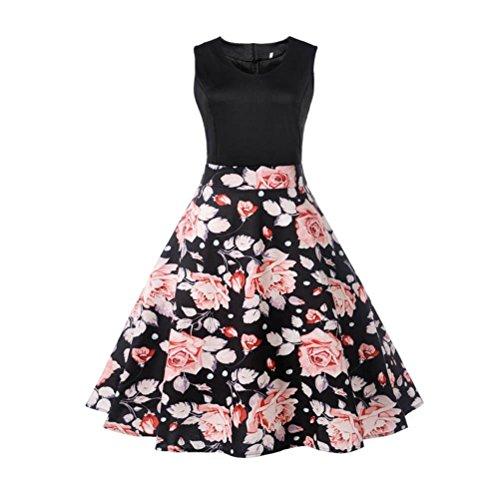 Clearance!Rakkiss Hepburn Dress Vintage Tea Ball Gown Women Floral Elegant Sleeveless Dress ()