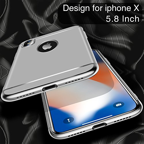 iPhone X Case, TORRAS [Lock Series] 3 in 1 Hybrid Hard Plastic Case Ultra Thin and Slim Anti-scratch Matte Finish Cover Case for Apple iPhone X - Silver Photo #4