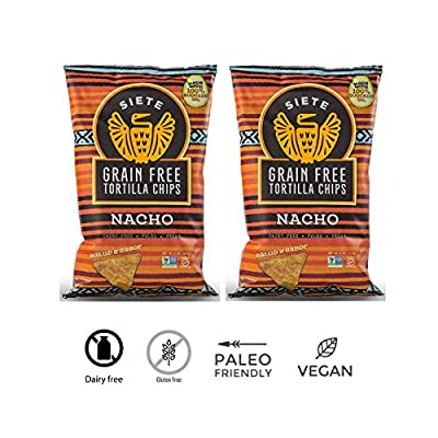 2 PACK - Siete Foods - Nacho Flavor - Grain Free Tortilla Chips (4 oz Bags) - Dairy Free - Paleo - Vegan - Gluten Free - Certified Non GMO - Made with Avocado Oil