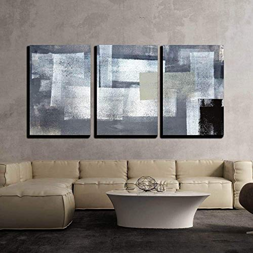 Contemporary Painting - wall26 - 3 Piece Canvas Wall Art - Grey and Green Abstract Art Painting - Modern Home Decor Stretched and Framed Ready to Hang - 16