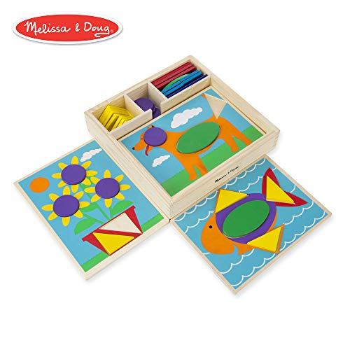 - Melissa & Doug Beginner Wooden Pattern Blocks Educational Toy, 5 Double-Sided Scenes and 30 Shapes, 10.65