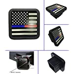 USA US American Flag Trailer Hitch Cover tube Plug Insert (Fits 2″ Receivers,Supports police and fire department blue / red line American flag)