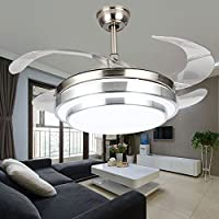 COLORLED Modern Minimalist Brushed Nickle 42-Inch Remote Ceiling Fan with Four Transparent Acrylic Blades Ceiling Flushmount Chandelier for Living Room Bedroom Fan Light Kit