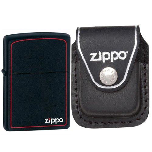 Black Leather Logo Pouch (Zippo 218ZB Classic Red Bordered Black Matte Zippo Logo Windproof Lighter with Zippo Black Leather Clip Pouch)