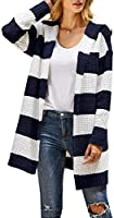Yacooh Womens Striped Cardigan Sweaters Color Block Long Sleeve Loose Open Front Knit Hooded Sweater