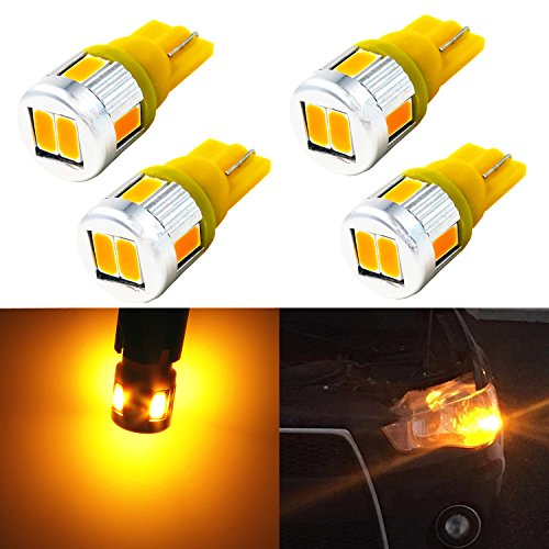 Alla Lighting 4x Super Bright Samsung 5630 SMD T10 Wedge 194 168 2825 W5W 175 Amber Yellow LED Bulbs for Replacing License Plate Interio Map Dome Side Marker Courtesy Cargo Light (Amber Wedge Base)