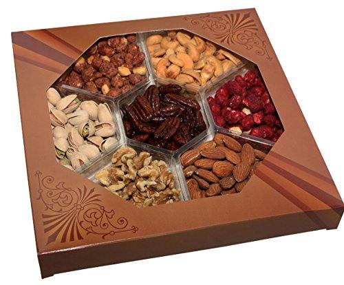 Freshly Roasted 7 Mixed Nuts Gift Tray | Healthy & Gourmet Snacks, Almonds, Pistachios, Cashews, Walnuts, Sugar Roasted Peanuts, Honey Glazed Pecans & Honey Glazed Peanuts
