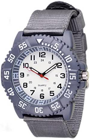 WOLFTEETH Water Resistant Analog Quartz White Dial Grey Band Sport Military Teenager Boy Wrist Watch #3016