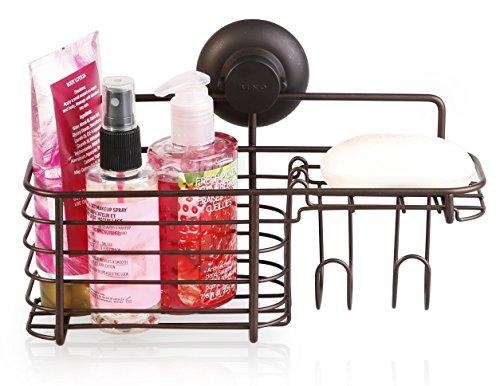 BINO SMARTSUCTION Rust-Resistant Bronze Shower Caddy, Combo Basket (Basket Combo Corner)