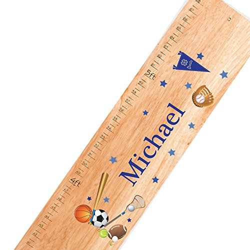 All Star Growth Chart - Personalized natural Sports childrens wooden growth chart