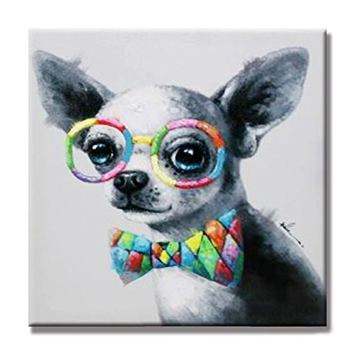 Modern Animal Artwork 100% Hand-painted Oil Painting Unframed and Stretched for Living Room (32 x 32 Inch,Smart Dog Chihuahua Wearing bow tie and glasses)