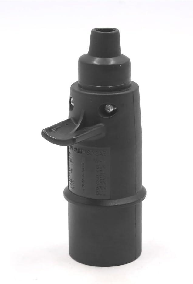 uxcell 7 Pin DC 24V Plastic European Trailer Light Socket Electrics Connector Adapter