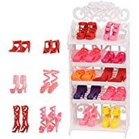 Doll Shoes Rack Shoes Shelf Accessory with 16 Pairs Shoes...